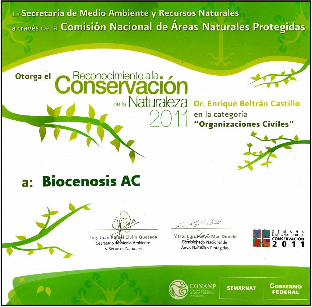 diploma premio a la conservacion